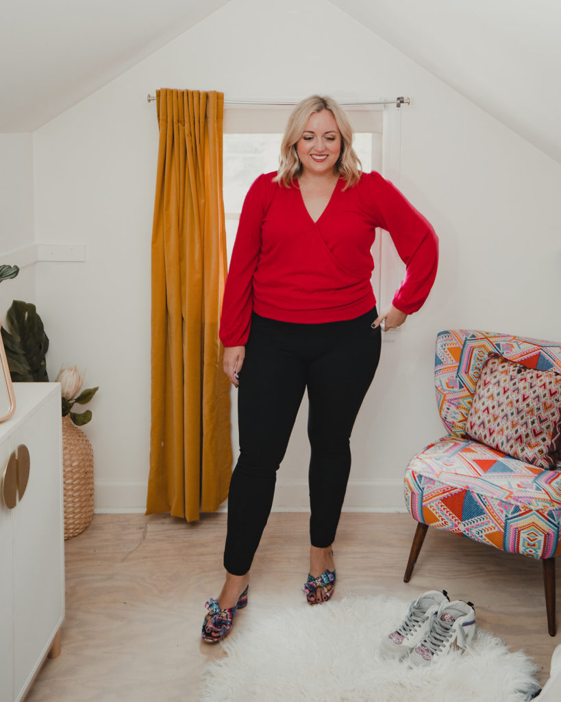Woman Wearing Spanx Perfect Pant in Black and Red Top. SellEatLove.com