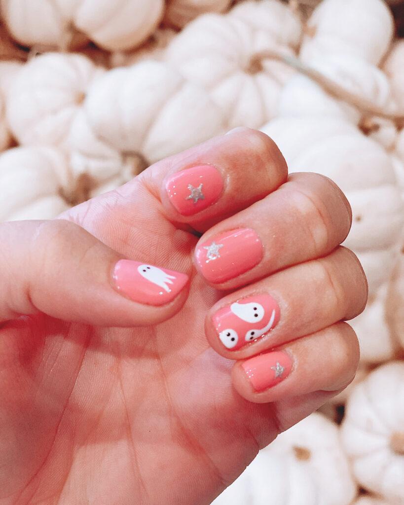 Pink Ghost Nail Art