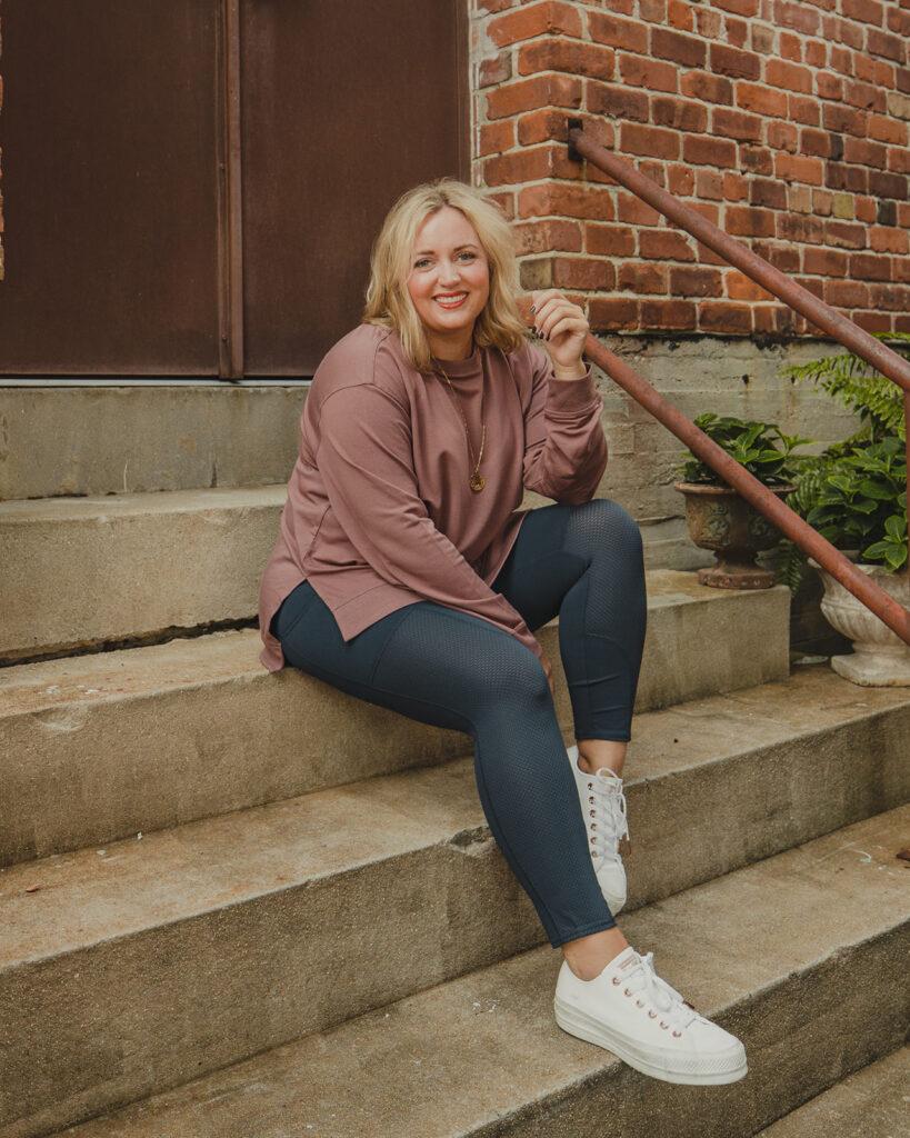 QVC Favorites for Fall - Sweatshirt Leggings Tshirt and white tennis shoes
