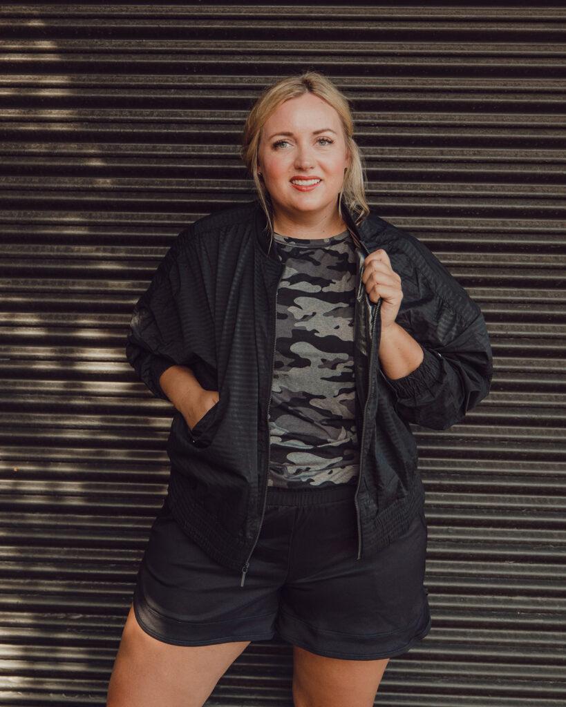 QVC Fall Favorites - Black Jacket, camo Tee, Shorts