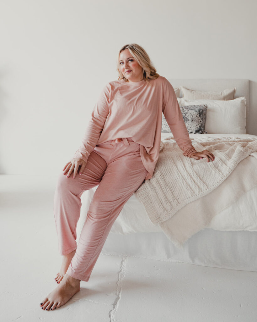 QVC Jersey Lounge Pant with Tie Waist + Knit Rib Swing Top in blush.