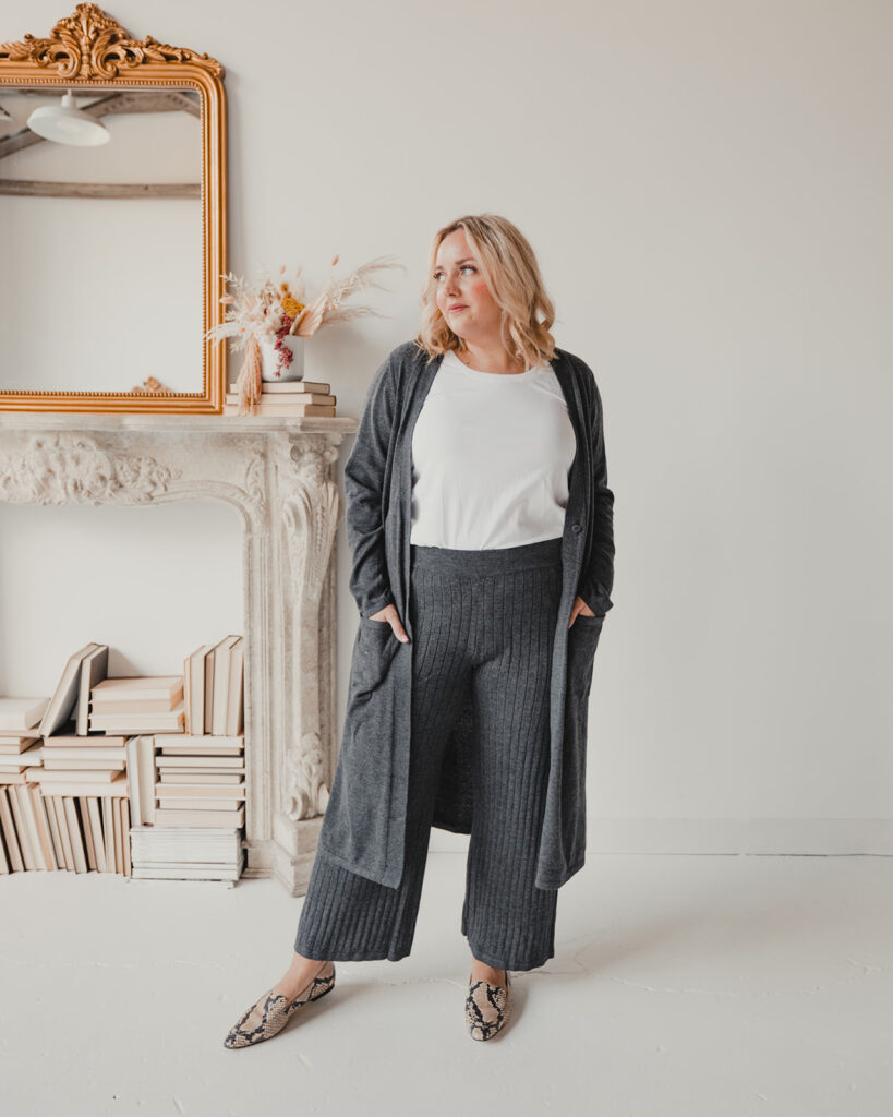 QVC Favorites for Fall - Gray Pant and Cardigan