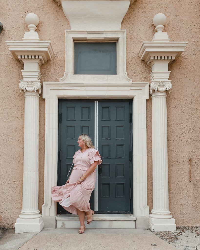 Easter Dresses from Red Dress - SELL EAT LOVE.  Blush Pink Midi Dress with Tiered Ruffle Sleeve