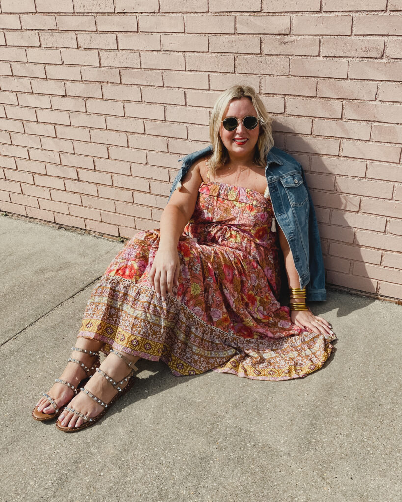 Easter Dresses from Red Dress - SELL EAT LOVE. Multi Print Boho Style Maxi Dress with neutral gladiator style sandals