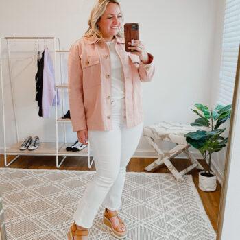 Blush Shacket and White Denim Jeans