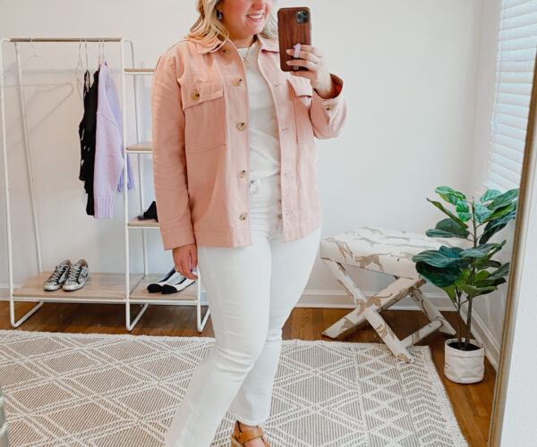 Blush Shacket and White Denim Jeans