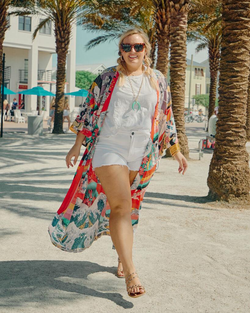 5 Ways to Style a Kimono - Wearing white tee and white denim shorts with multi color kimono.
