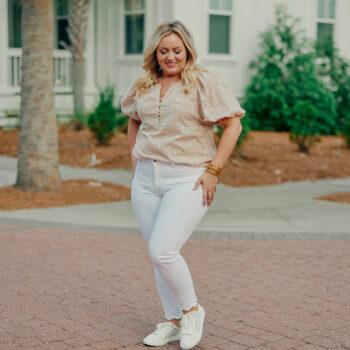 White Denim Jeans Puff Sleeve Top