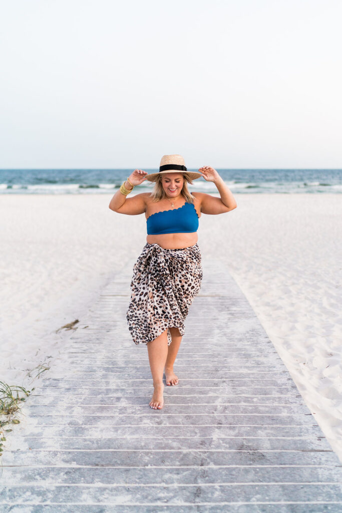 Memorial Day Sales - Women on the beach wearing Two Piece Blue Swimsuit and leopard print sarong