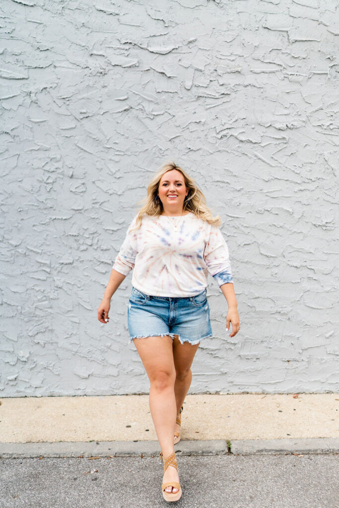 5 Fashion Trends This Summer - Denim Shorts with Tie Dye Long Sleeve