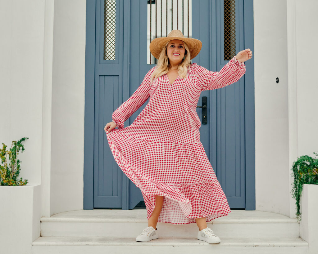 What to Wear 4th of July - Red Gingham Maxi Dress. Size Medium. SellEatLove.com