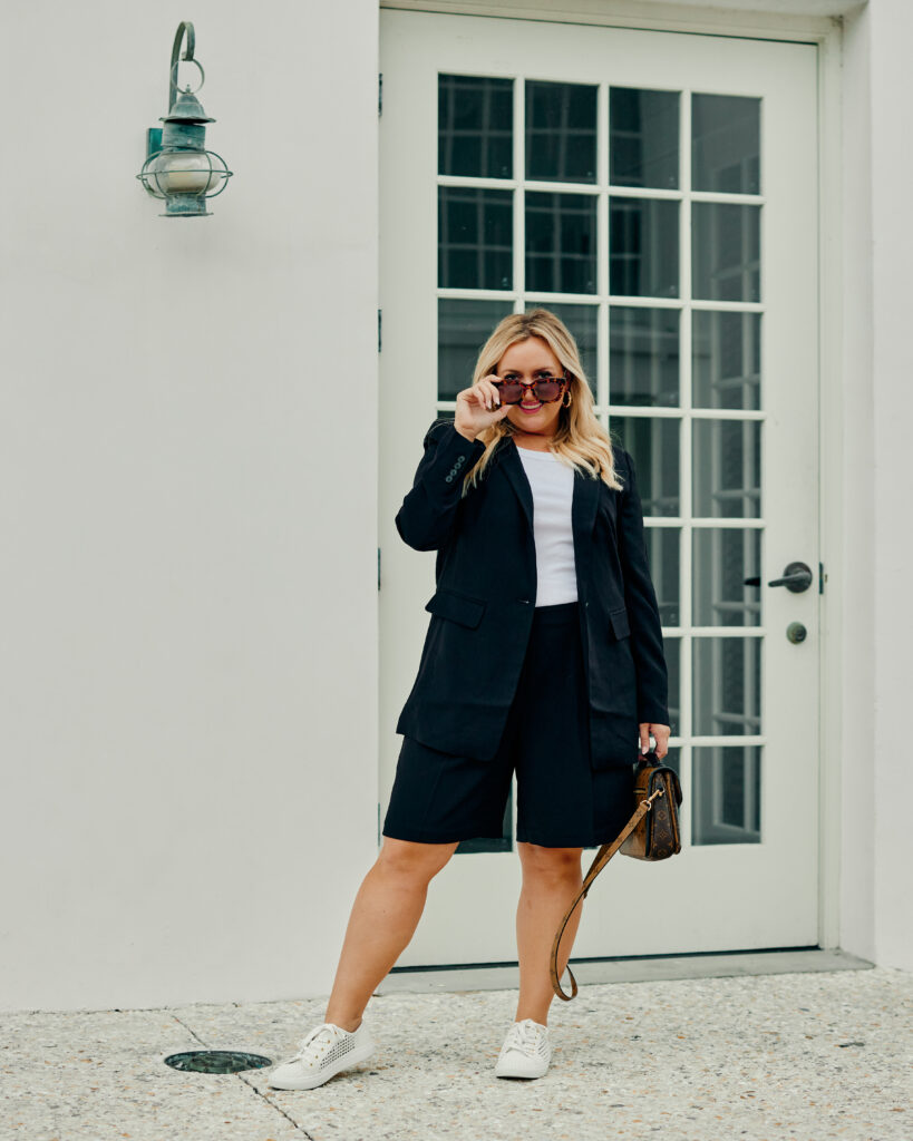 Summer Outfit Ideas - Workwear Black Blazer and Shorts with White Top