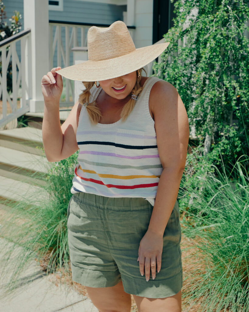 Summer Outfit Ideas  - Green Pull on Shorts with Striped Knit Tank and Hat