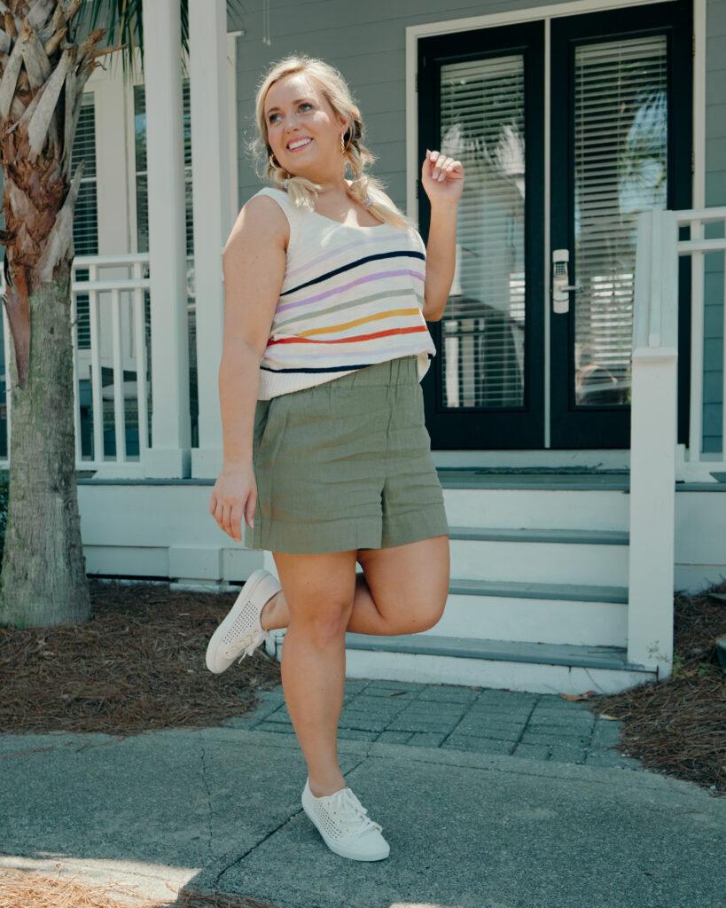 Army Green Shorts with White Stripe Knit Tank - Loft