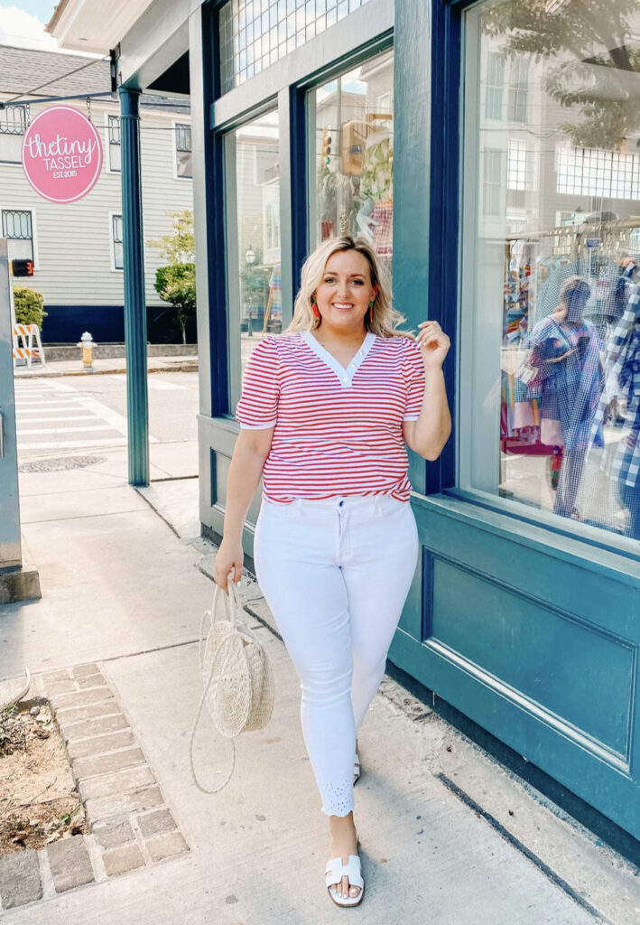 What to Wear 4th of July - Red White Stripe Short Sleeve Top with White Jeans