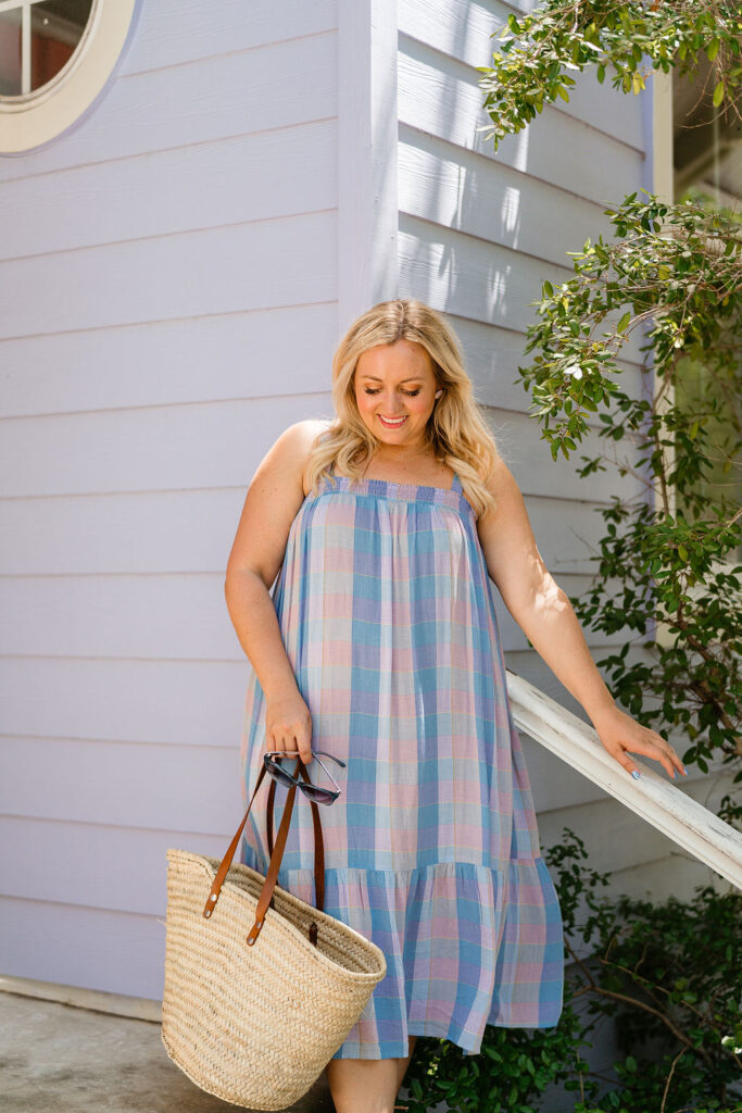 4th of July Outfit Idea - Plaid Midi Dress. Size Large. SellEatLove.com