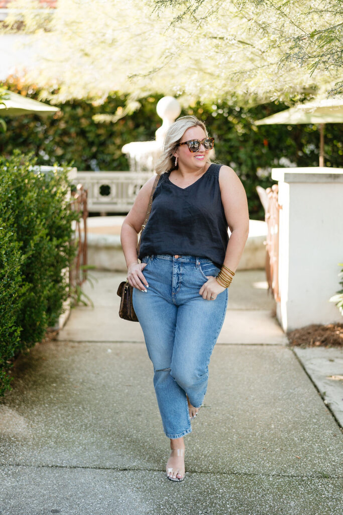 Summer Outfit Ideas  - Denim Jeans with Black Tank
