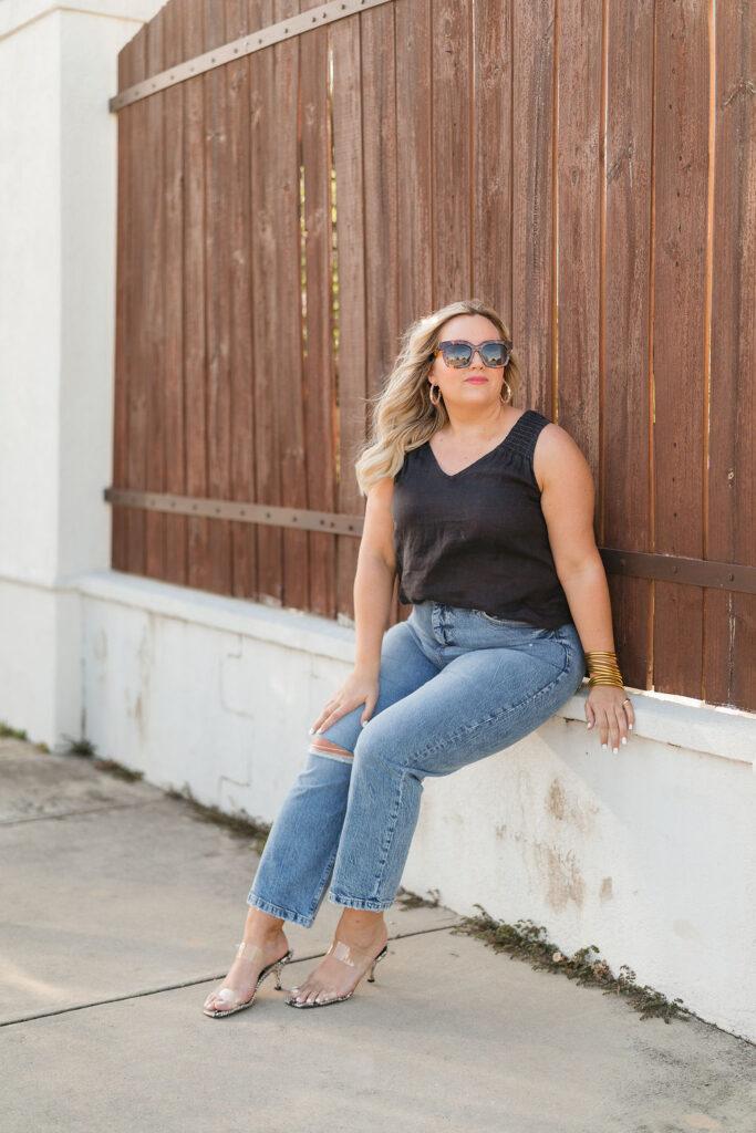 Denim Jeans with Black Tank