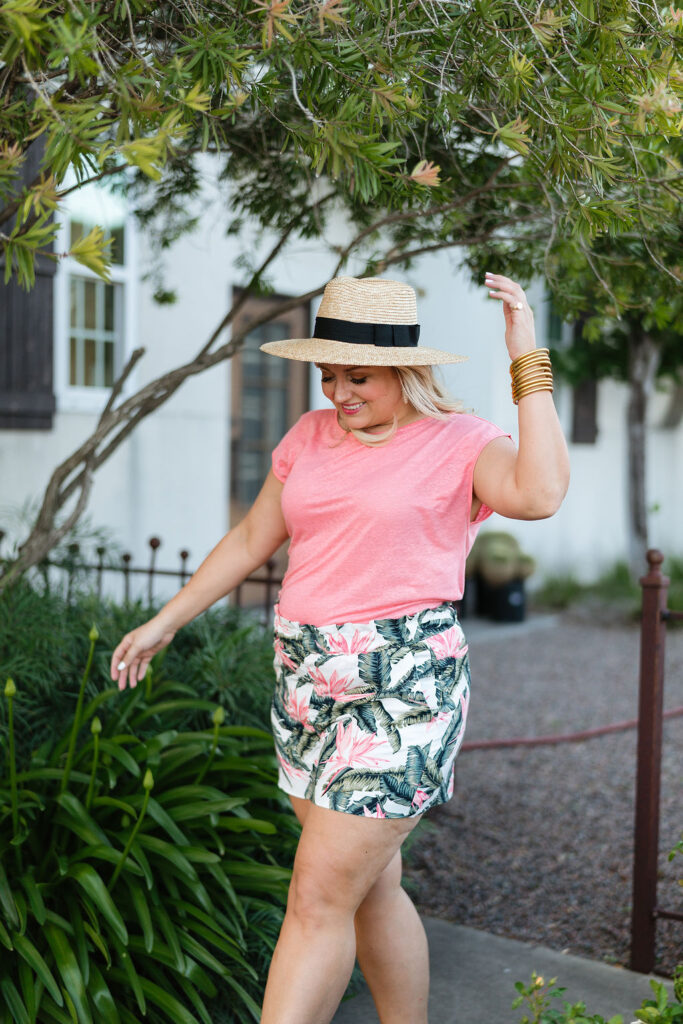 Pink Short Sleeve Top and Floral Pull on Shorts - Loft