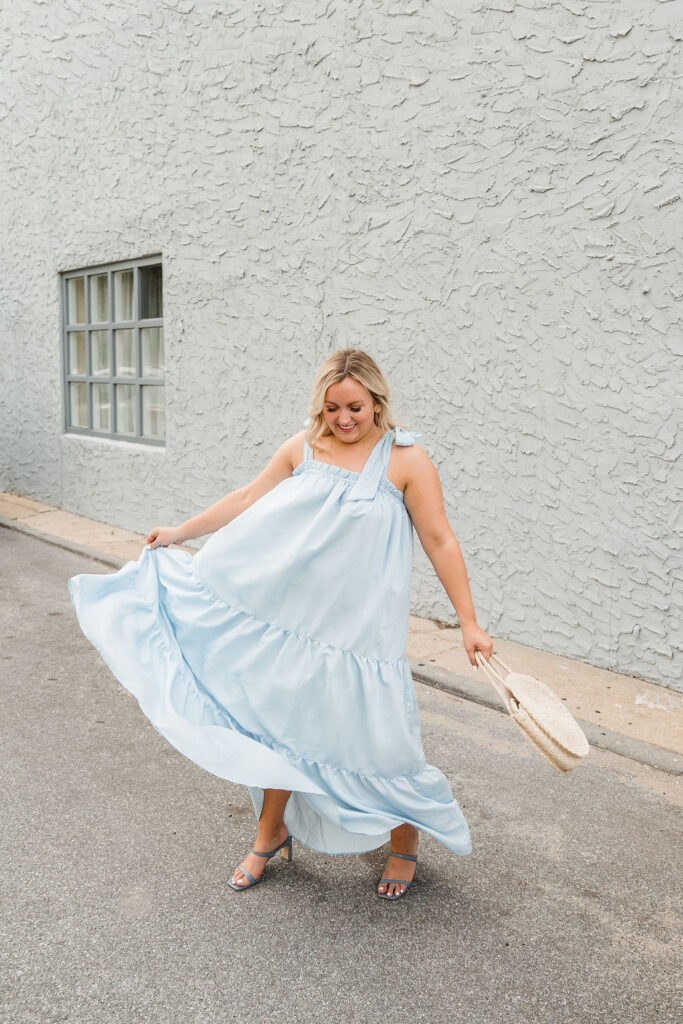 5 Fashion Trends This Summer - Light Blue Maxi Dress with Tie Straps