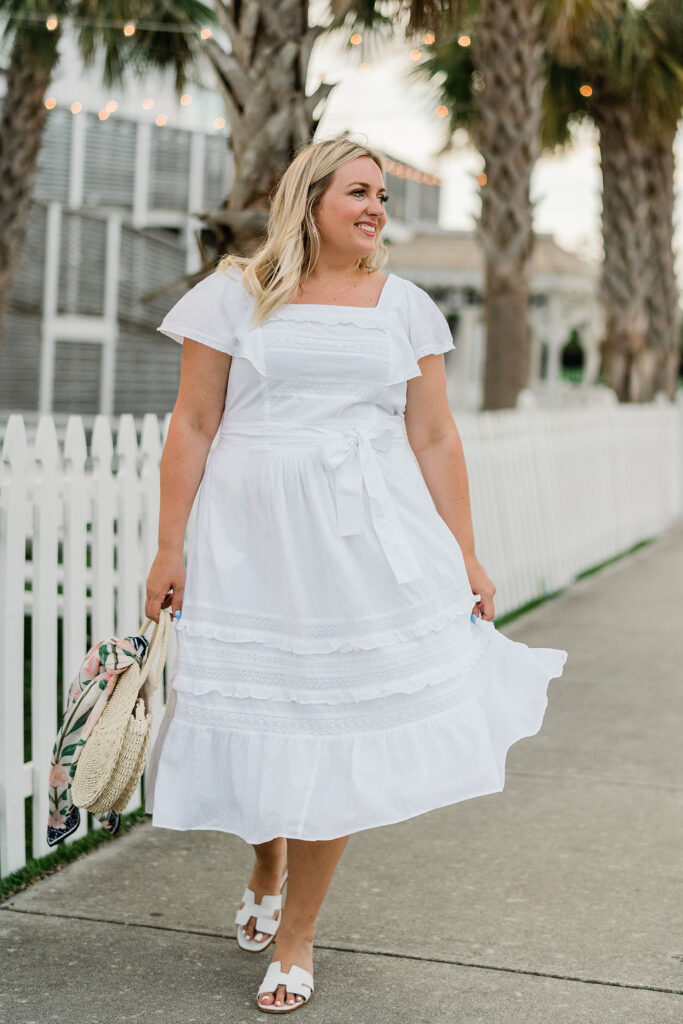 What to Wear 4th of July - White short sleeve midi dress. Size Large. SellEatLove.com