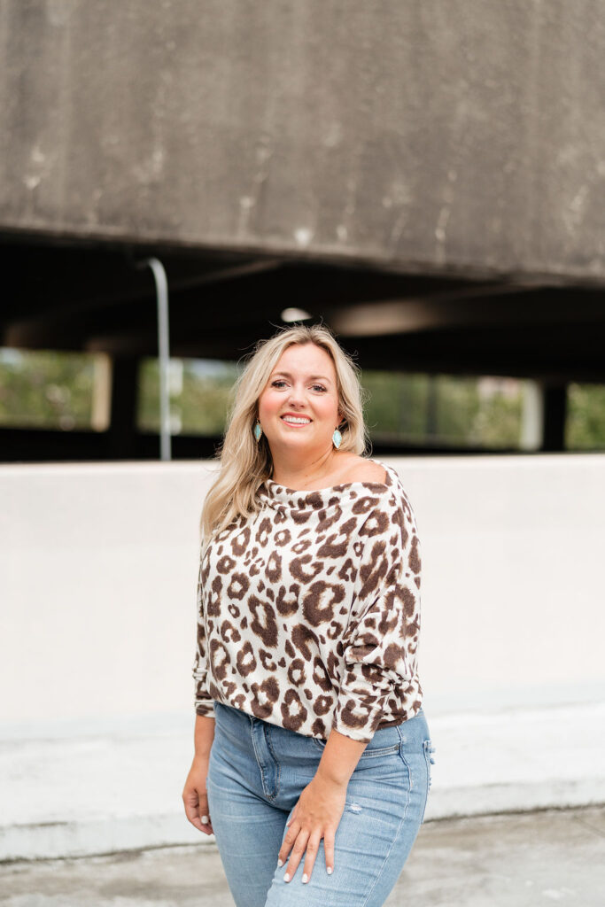 Nordstrom Anniversary Sale - Gibson Leopard Print Off the Shoulder Top with Denim Jeans. SellEatLove.com